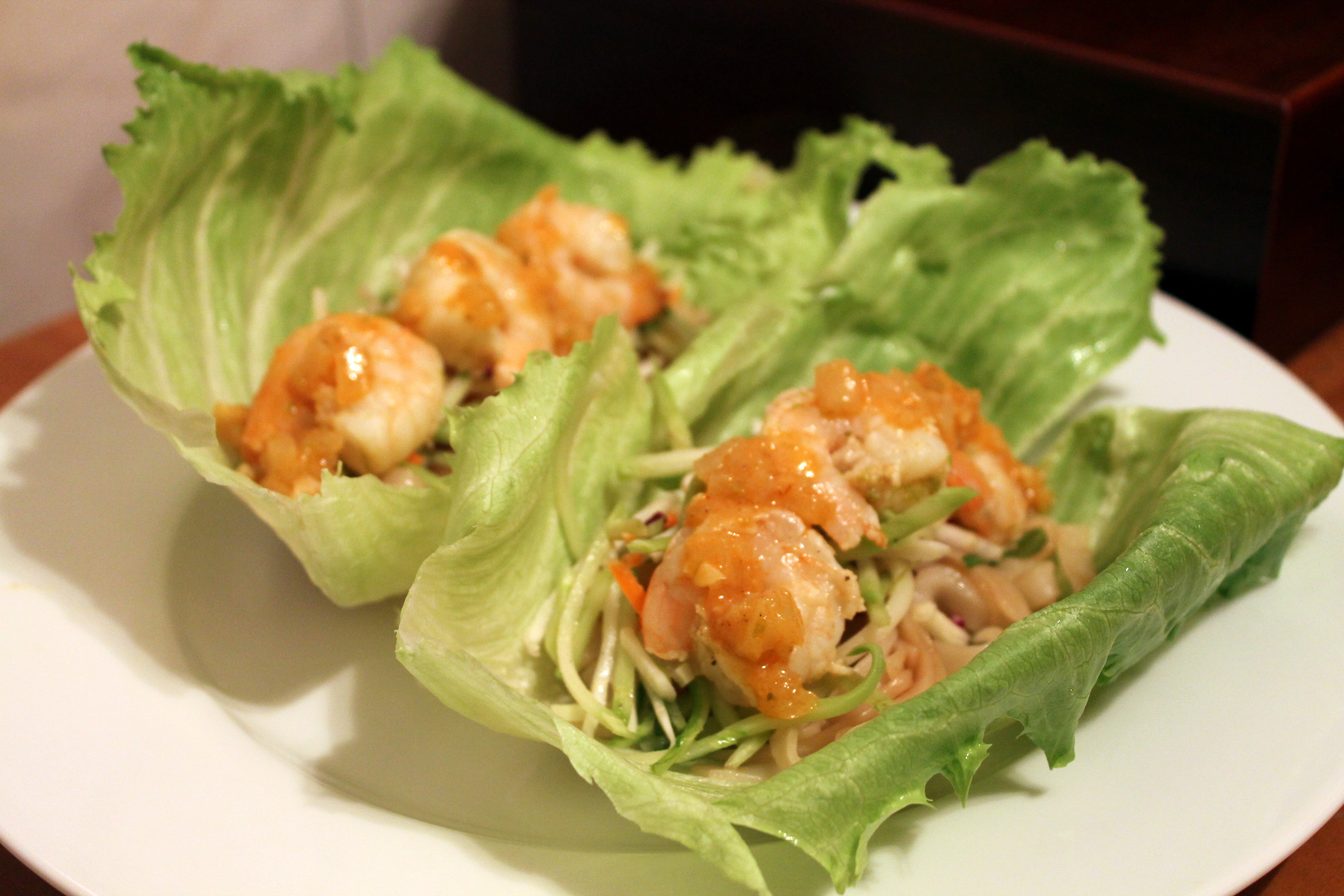 Lettuce wraps with shrimp greek yogurt dip for vegetables for Asian cuisine oshawa