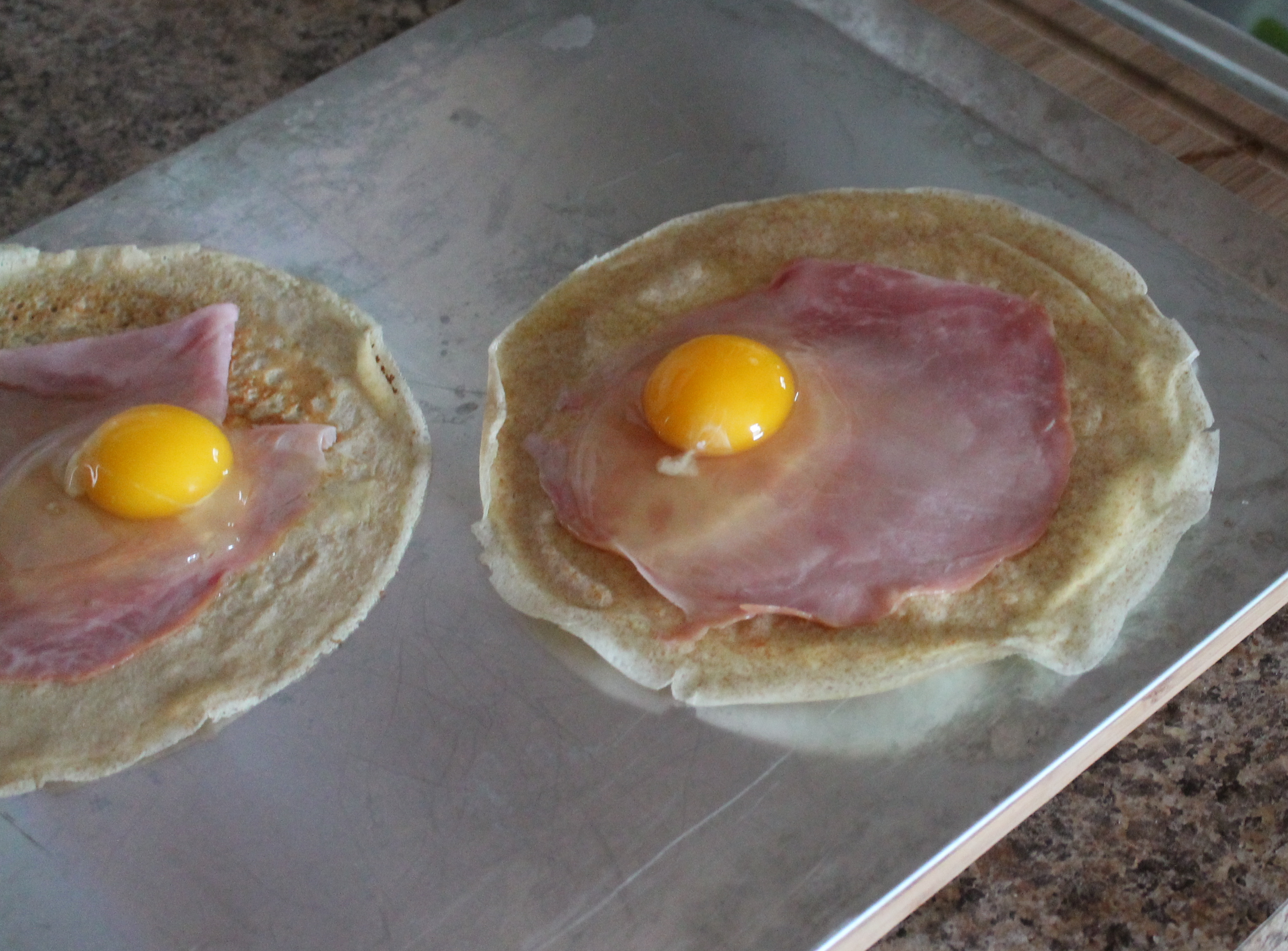 Ham And Egg Crepe Squares Recipe — Dishmaps