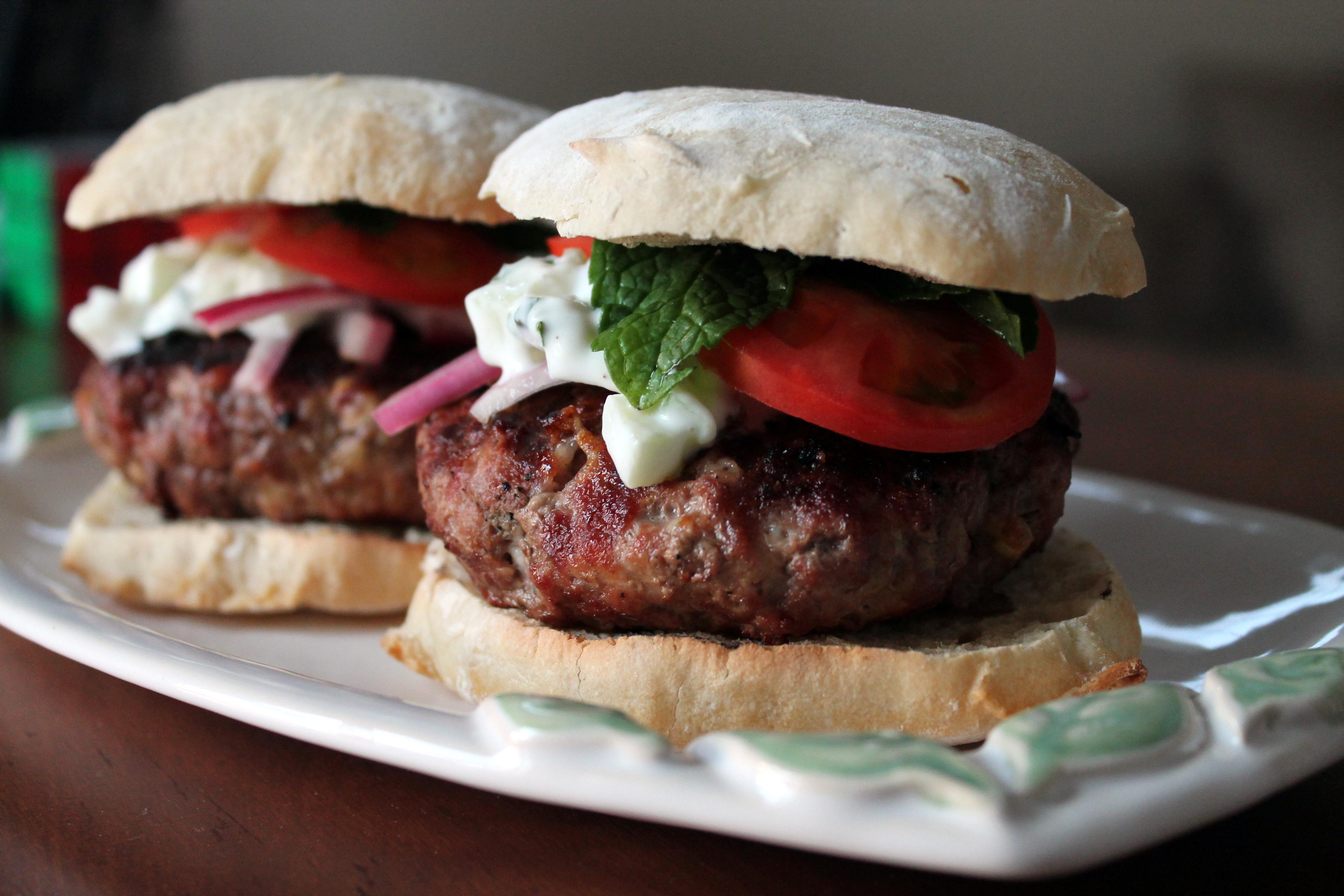Greek Burgers with Homemade Tzatziki